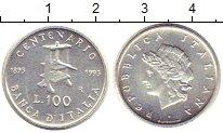 Изображение Монеты Италия 100 лир 1993 Серебро XF 100 - летие  Банка