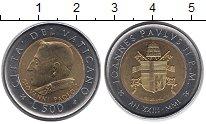 Изображение Монеты Ватикан 500 лир 2001 Биметалл UNC-