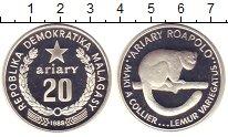 Изображение Монеты Мадагаскар 20 ариари 1988 Серебро Proof Лемур