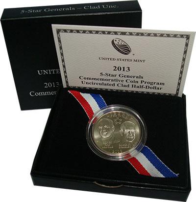 Изображение Подарочные монеты США Генералы Арнольд и Брэдли 2013 Медно-никель UNC `Монета посвящена 5-