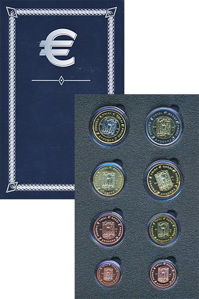 Изображение Подарочные монеты Андорра Европроба 2003 2003  UNC Набор фантазийных ев
