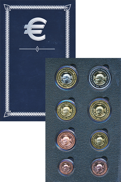 Изображение Подарочные монеты Ватикан Европроба 2002 2002  UNC Набор фантазийных ев