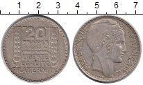 Изображение Монеты Франция 20 франков 1933 Серебро VF