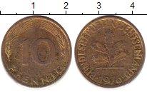 Изображение Дешевые монеты ФРГ 10 пфеннигов 1976 сталь покрытая латунью XF