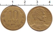 Изображение Дешевые монеты Чили 10 песо 1999 Латунь XF-