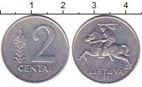 Изображение Дешевые монеты Литва 2 цента 1991 Алюминий XF+