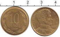 Изображение Дешевые монеты Чили 10 песо 2004 Латунь XF