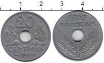 Изображение Монеты Франция 20 сантимов 1942 Цинк XF+