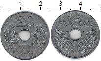 Изображение Монеты Франция 20 сантимов 1943 Цинк XF+