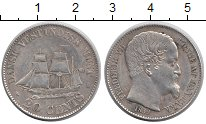 Изображение Монеты Датская Вест-Индия 20 центов 1859 Серебро XF Фредерик VII