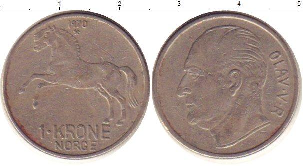 Картинка Дешевые монеты Норвегия 1 крона Медно-никель 1970