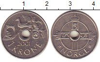 Изображение Барахолка Норвегия 1 крона 2001 Медно-никель XF