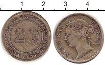 Изображение Монеты Стрейтс-Сеттльмент 20 центов 1898 Серебро VF Виктория