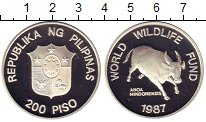 Изображение Монеты Филиппины 200 песо 1987 Серебро Proof- Бык