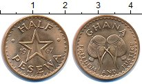 Изображение Монеты Гана 1/2 песева 1967 Медь UNC-