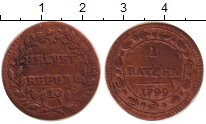 Изображение Монеты Швейцария 1 батзен 1799 Серебро VF