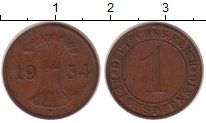 Изображение Монеты Веймарская республика 1 пфенниг 1934 Бронза XF