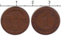 Изображение Монеты Веймарская республика 1 пфенниг 1931 Бронза XF