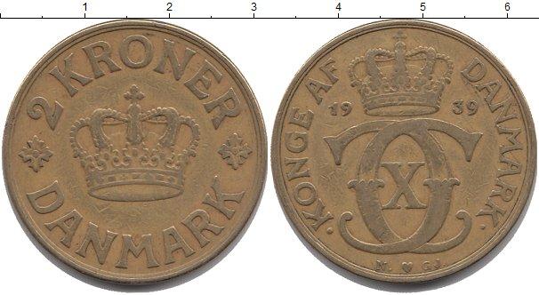Картинка Монеты Дания 2 кроны Латунь 1939