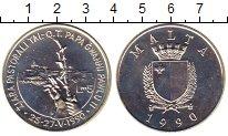 Изображение Монеты Мальта 5 фунтов 1990 Серебро UNC Визит  Понтифика  Ио