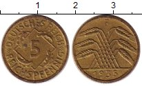 Изображение Монеты Веймарская республика 5 пфеннигов 1935 Латунь XF F