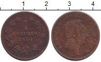 Изображение Монеты Германия Баден 1 крейцер 1850 Медь VF