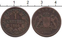 Изображение Монеты Германия Баден 1 крейцер 1860 Медь VF
