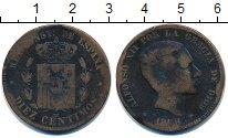 Изображение Монеты Испания 10 сентим 1878 Бронза VF Альфонсо XII