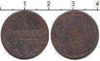 Изображение Монеты Саксония 1 пфенниг 1772 Медь VF Фридрих Август III