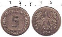 Изображение Монеты ФРГ 5 марок 1992 Медно-никель XF