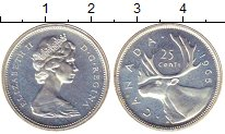 Изображение Монеты Канада 25 центов 1965 Серебро UNC