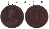 Изображение Монеты Маврикий 5 центов 1923 Бронза VF