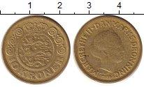 Изображение Монеты Дания 10 крон 1989 Латунь XF Королева  Маргрете I