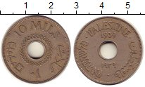Изображение Монеты Палестина 10 милс 1939 Медно-никель XF Британский мандат.