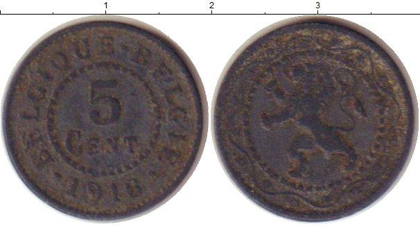 Картинка Монеты Бельгия 5 сантим Цинк 1916