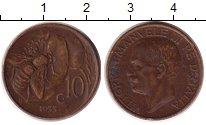 Изображение Монеты Италия 10 сентесим 1933 Бронза XF Витторио Имануил III