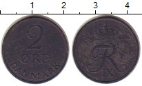 Изображение Монеты Дания 2 эре 1955 Цинк VF