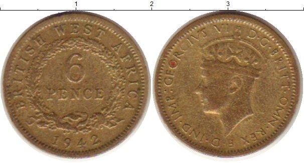 Картинка Монеты Западная Африка 6 пенсов Латунь 1942