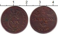Изображение Монеты Швеция 1/6 скиллинга 1830 Медь