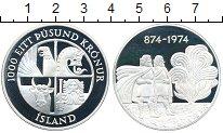 Изображение Монеты Исландия 1000 крон 1974 Серебро Proof 1100 - летие  первог