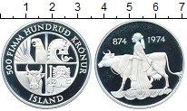 Изображение Монеты Исландия 500 крон 1974 Серебро Proof- 1100 - летие  первог