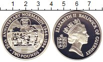 Изображение Монеты Гернси 2 фунта 1994 Серебро Proof 50-летие высадки в Н