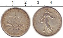 Изображение Монеты Франция 1 франк 1917 Серебро XF