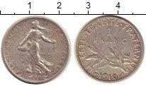 Изображение Монеты Франция 1 франк 1910 Серебро XF Сеятельница.