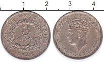 Изображение Монеты Восточная Африка 3 пенса 1943 Медно-никель XF Георг VI
