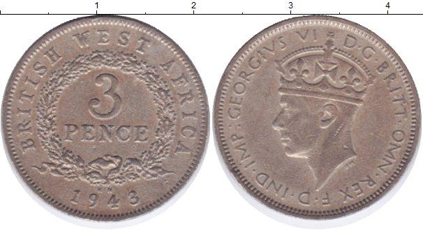 Картинка Монеты Западная Африка 3 пенса Медно-никель 1943