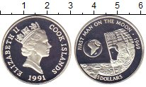 Изображение Монеты Острова Кука 5 долларов 1991 Серебро Proof Высадка на Луну