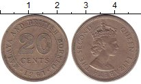 Изображение Монеты Малайя 20 центов 1961 Медно-никель XF Елизавета II.