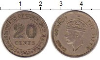 Изображение Монеты Малайя 20 центов 1948 Медно-никель XF Георг VI