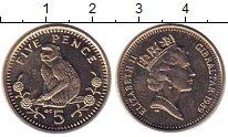 Изображение Мелочь Гибралтар 5 пенсов 1989 Медно-никель XF Елизавета II.  Обезь